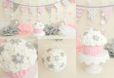 Pinks silver - winter wonderland girl cake smash
