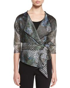 3/4-Sleeve Sheer-Stripe Jacket, Multi Colors by Armani Collezioni at Neiman Marcus.
