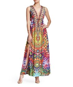 Red Abstract Side-Slit Silk-Blend Maxi Dress by Parides