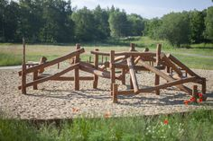 Natural Playground area created with Lars Laj wooden equipment.  #playground #nature #outdoor #landscapedesign #kindergarden #playoutside Natural Playground, Garden Bridge, Landscape Design, Climbing, Outdoor Structures, Create, Nature, Naturaleza, Natural Play