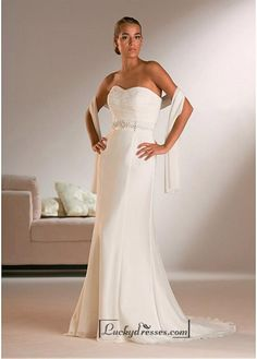 Beautiful Elegant Exquisite Sheath Sweetheart Chiffon Wedding Dress In Great Handwork Sale On LuckyDresses.com With Top Quality And Discount
