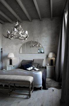 ♅ Dove Gray Home Decor ♅  grey elegantly rustic bedroom