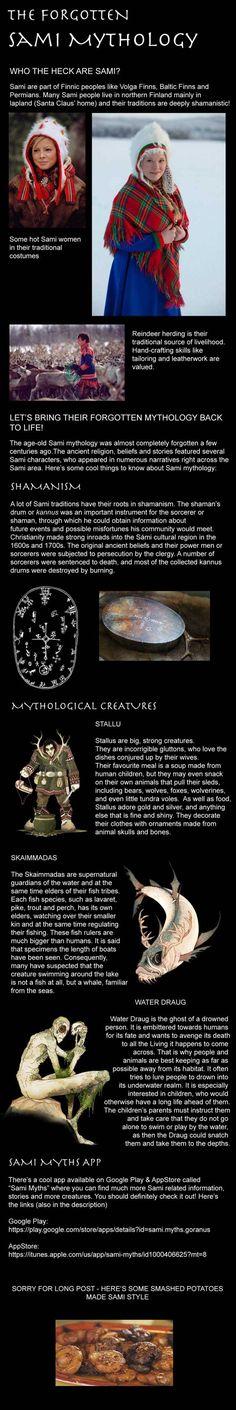 The awesome Sami mythology - Dude. Lapland is in Sweden not Finland😂 Mythological Creatures, Mythical Creatures, World Mythology, Myths & Monsters, Legends And Myths, Cryptozoology, Art Memes, Gods And Goddesses, History Facts
