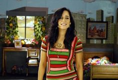 """Me Voy"" Julieta Venegas, love her colorful striped dress"