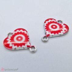 Μεταλλική καρδιά με σμάλτο Crochet Earrings, Enamel, Heart, Red, Jewelry, Vitreous Enamel, Jewlery, Jewerly, Schmuck