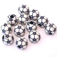55 Plastic Soccer Beads 12 mm by CloudNineSupplyShop on Etsy, $5.00