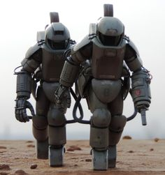 Mk1 and Mk2 vacuum suits, or a heavy scientific suit, or a battle armor
