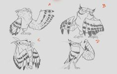 Character design job i did for the guys at milford animation a couple of months ago. those feathers guysthose f***ing feathers! Character Design Jobs, Character Design References, Character Design Inspiration, Character Concept, Character Art, Cartoon Sketches, Animal Sketches, Animal Drawings, Owl Drawings