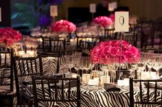 black white and pink table scapes