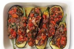 Eggplants stuffed with onions
