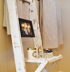 i just decided ladders are my new favorite  Ladder Bathroom Storage by KnotsandBiscuits on Etsy, $145.00
