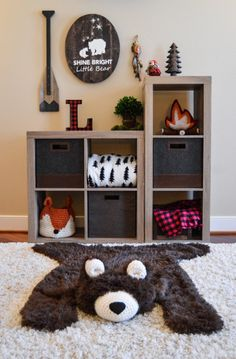 Nursery Rug /  Bear Rug / woodland nursery / Baby room by ClaraLoo Baby Themes For Boys, Baby Room Decor For Boys, Future Baby Ideas, Baby Nursery Ideas For Boy, Simple Baby Nursery, Rustic Baby Rooms, Nursery Set Up, Baby Room Diy, Pastel Nursery