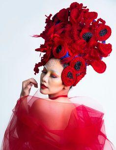 Flower art avant-garde beehive updo Creative Colour, Updos, Flower Art, Crown, Beehive, Flowers, Color, Up Dos, Art Floral