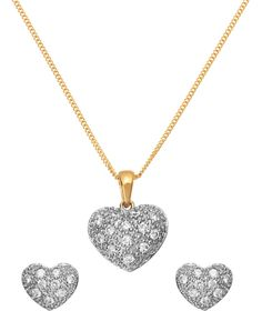 Buy 18ct Gold Plated Silver Pave Heart Pendant and Earring Set at Argos.co.uk - Your Online Shop for Ladies' jewellery sets.