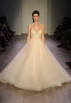 Lazaro Spring 2016 cream empire waistline tulle skirt wedding dress | https://www.theknot.com/content/lazaro-wedding-dresses-bridal-fashion-week-fall-2016