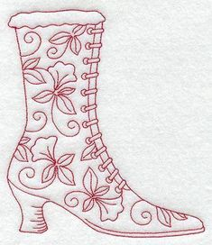 Machine Embroidery Designs at Embroidery Library! - A Redwork Victorian Shoes and Handbags Dsg Pk - Lg Hand Embroidery Patterns Free, Simple Embroidery, Embroidery Transfers, Hand Embroidery Stitches, Vintage Embroidery, Ribbon Embroidery, Machine Embroidery Designs, Embroidery Sampler, Eyebrow Embroidery