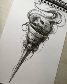Cresset for tattoo - Tattoo ideen - Tattoos Skull, Skull Tattoo Design, Body Art Tattoos, Sleeve Tattoos, Cool Tattoos, Tattoo Designs, Tattoo Sketches, Tattoo Drawings, Gothic Drawings