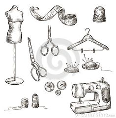 Set of sewing accessories drawings