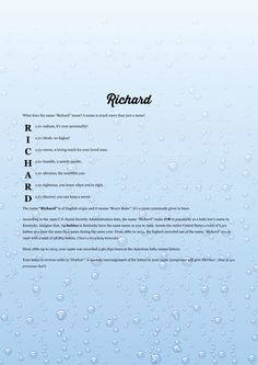 The #namemeaning of #Richard using Bubbles Rising from the project pack Liquid. Unique #giftideas and #personalizedgifts for #babynames