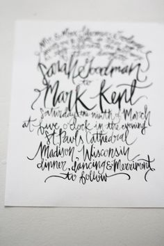 Hand Painted / Lettered - Calligraphy Wedding Invitation Suite - Customizable. $445.00, via Etsy.