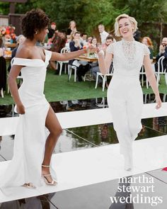 Go inside Samira Wiley and Lauren Morelli's colorful Palm Springs wedding, photographed by Jose Villa exclusively for Martha Stewart Weddings. Lgbt Wedding, Wedding Attire, Wedding Dresses, Wedding Dancing, Lesbian Wedding Photos, Wedding Pantsuit, Wedding Menu, Wedding Portraits, Wedding Invitations