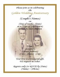 50th Wedding Anniversary Invitations - Golden Marriage | 50th ...