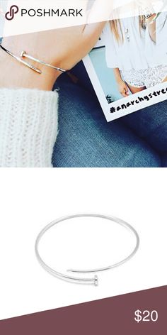 "Anarchy Street | Silver Nail'd Bracelet 📌 3"" wide.                                                                          📌 100% New with box!! ( It doesn't fit me, I have very tiny wrist).                                                                         📌 Really great material, material does not band and colour stays the same.                                                    📌 Jewellery brand from blogger Songofstyle's sister Dani Song. They are my favourite bloggers ever.💕…"