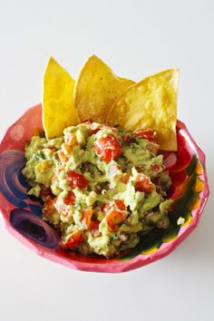 Homemade Guacamole and Tortilla Chips