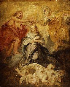 RUBENS Pieter Paul - Flemish (Siegen 1577-1640 Antwerp) - The Coronation of the Virgin  oil sketch