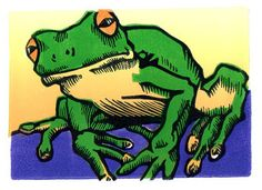 Tree Frog - 4 color linoleum block print by Curt Wells