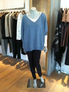 Blue Cashmere Sweater, Cream Tee and Black Skinny Pants