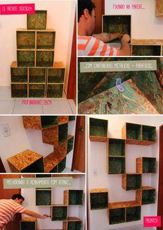 estante por menos de 120 reais <3 http://www.acasaqueaminhavoqueria.com/estante-de-osb-para-livros-por-menos-de-r120/