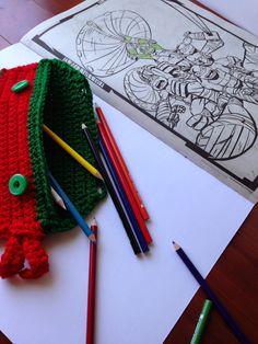 5 Little Monsters: Free Pattern- Crocheted Ninja Turtle Pencil Bag
