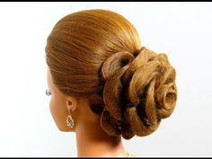 Hair made rose. Wedding prom hairstyles for long hair - YouTube