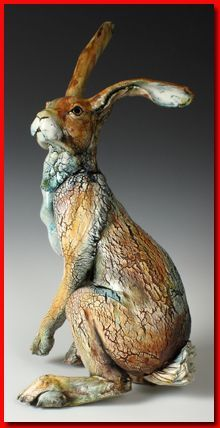 ANNIE PEAKER - Earth & Fire 2014 Exhibitor - Fabulous artist from Eden Vale, Cumbria. I love her hares and have a few. Pottery Animals, Ceramic Animals, Clay Animals, Ceramic Art, Sculptures Céramiques, Art Sculpture, Pottery Sculpture, Cumbria, Lapin Art