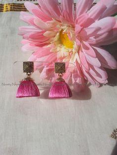 Pink Handcrafted Silk Thread Jewelry - Chandelier earrings - Stud-hook earwire-Silk thread Jhumka-Jhumkas-thread jhumkas by NIRMITY on Etsy