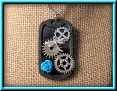 Steampunk Necklace, Gears, Dragonfly, Blue Rose, Steampunk, Goth, Brass, Mechanical, vintage gears, Silver Plate, Ball Chain by cherylscoinart on Etsy