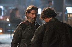Still of Henry Ian Cusick and Bob Morley in The 100 (2014)