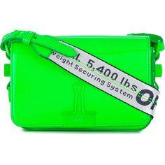 Off-White mini binder clip bag (€780) via Polyvore featuring bags, handbags, shoulder bags, green, real leather purses, green leather handbag, green shoulder bag, genuine leather purse und mini handbags