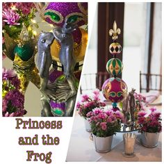 Disney PRINCESS AND THE FROG Wedding Centerpiece Disney Centerpieces, Wedding Centerpieces, Wedding Ideas, Wreaths, Disney Princess, Halloween, Decor, Decoration, Door Wreaths