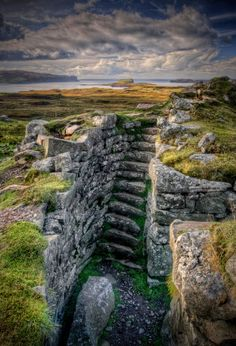 :  Dunbeag broch (Iron Age settlement), looking toward Isle Ornsay, Isle of Skye.