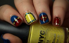 Superman nails  @Sarah Chintomby Chintomby Chintomby boyce