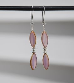 Handmade Sterling silver and Czech Glass Alexandrite Picasso Pointed oval earrings, purple czech glass earrings, sterling earrings, diamond by KarmaKittyJewelry on Etsy