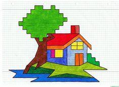 drawings on graph paper ? Graph Paper Drawings, Graph Paper Art, Art Drawings For Kids, Easy Drawings, Art For Kids, Principals Of Design, Easy Pixel Art, Blackwork, Graph Design