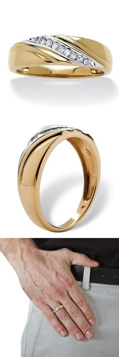 Other Wedding and Anniv Bands 92866: Mens 10K Gold 1/8 Tcw Round Diamond Diagonal Ring (H-I, I2-I3) -> BUY IT NOW ONLY: $280.99 on eBay!