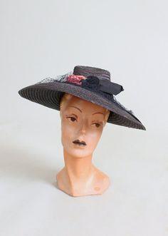 2f780bace3d Vintage 1930s Blue Straw Wide Brim Deco Hat. Katharine Maria Wallinger · Wide  Brimmed Hats