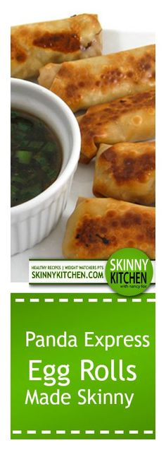 Panda Express Egg Rolls Made Skinny, Yum! These are baked not fried! Each roll has 104 calories, fat & 3 Weight Watchers SmartPoints. Egg Roll Recipes, Ww Recipes, Asian Recipes, Cooking Recipes, Healthy Recipes, Ethnic Recipes, Wonton Recipes, Cleaning Recipes, Copycat Recipes