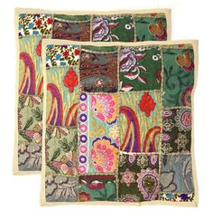 handmade khambodia patchwork indian cushion cover decor pillow case 24 2 pcs f 2 - The world's most private search engine Patchwork Cushion, Embroidered Cushions, Printed Cushions, Linen Pillows, Decorative Pillows, Vintage Cushions, Christmas Cushions, Fabric Rug, Throw Pillow Cases