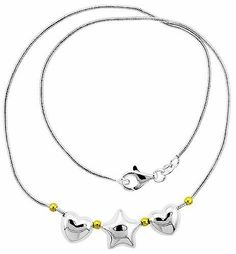 """Sterling Silver Necklace with 2 Hearts Star Slide 17"""" Sabrina Silver. $65.55"""