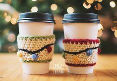 (4) Name: 'Crocheting : Christmas Lights Coffee Sleeve
